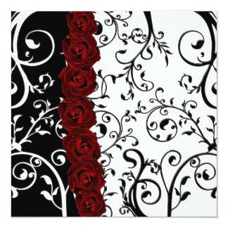 Vine Damask and Roses Goth Wedding Card