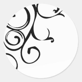 Vine design classic round sticker