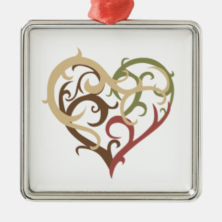 vine heart 4 metal ornament