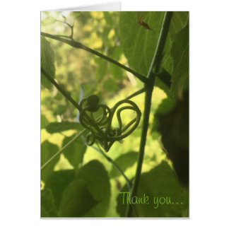 vine heart thank you note card