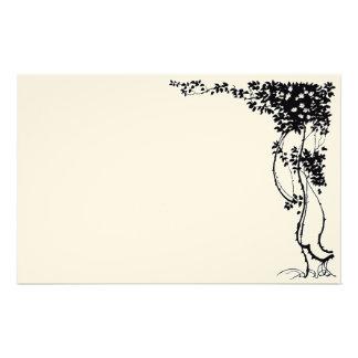 Vine Leaves Floral Vintage Art Stationery Paper