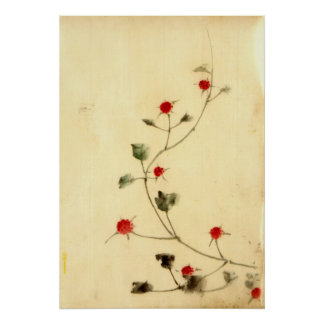 Vine with Red Blooms 1840 Poster