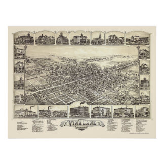 Vineland, NJ Panoramic Map - 1885 Poster