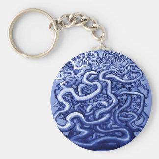 Vines Blue Basic Round Button Keychain