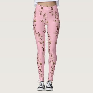 vines of gold in pink leggings