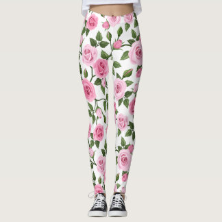 Vines of Pink Roses Leggings
