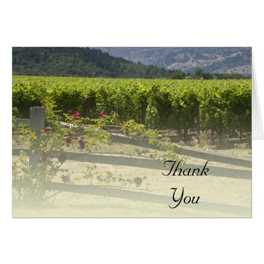 Vineyard and Rose Fence Thank You Card