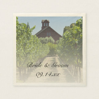 Vineyard and Rustic Red Barn Wedding Paper Napkins