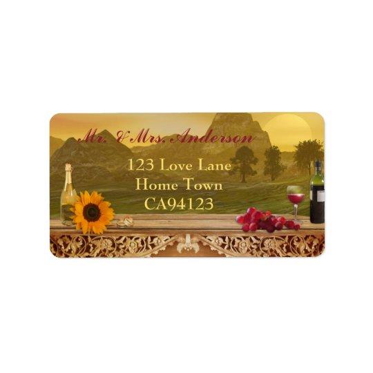 Vineyard Fall Wedding Address Label