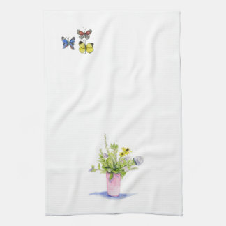 vineyard flowers and butterflies kitchen towel