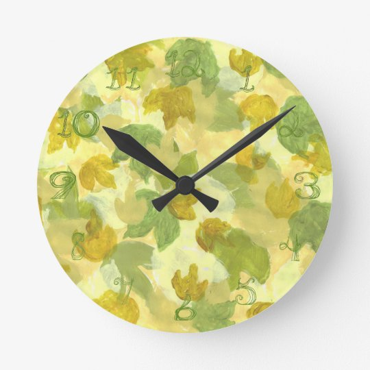 Vineyard grapevine leaves round clock fabric font
