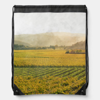 Vineyard in Autumn in Napa Valley California Drawstring Bag