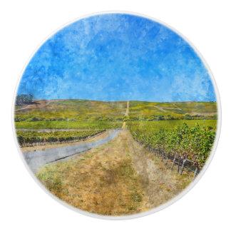 Vineyard in Napa Valley California Ceramic Knob