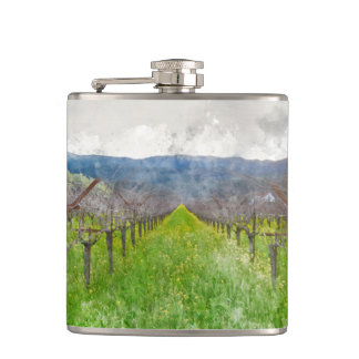 Vineyard in Napa Valley California Flasks