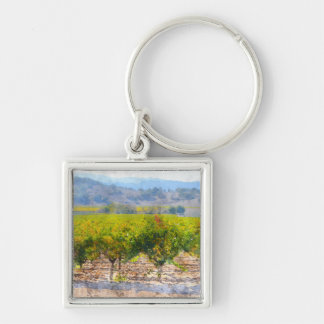 Vineyard in Napa Valley Silver-Colored Square Keychain