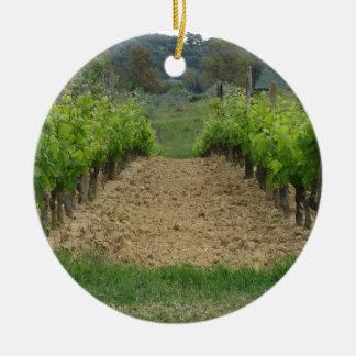 Vineyard in spring . Tuscany, Italy Round Ceramic Ornament