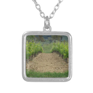 Vineyard in spring . Tuscany, Italy Silver Plated Necklace