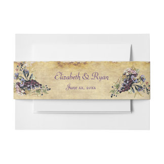 Vineyard, Watercolor Grapevine, Custom Wedding Invitation Belly Band