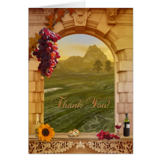 Vineyard Wine Themed Wedding Thank You Card