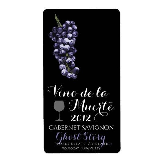 vino de la muerte wine label shipping label