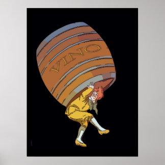 Vino Wine Barrel Poster