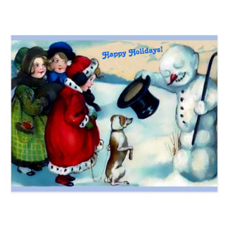 Vintaage Snowman, Girls, Dog , Happy Holidays Cute Postcard