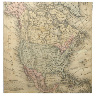 Vintag Map Print of North America Napkin