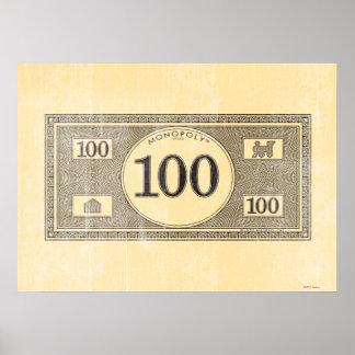 Vintage 100 Dollar Bill Poster