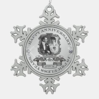 Vintage 10th Anniversary ID195 Snowflake Pewter Christmas Ornament