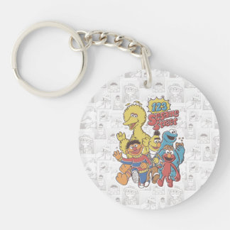 Vintage 123 Sesame Street Double-Sided Round Acrylic Keychain
