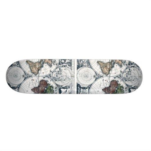 Vintage 1658 Nicolao Visscher World Map Custom Skate Board