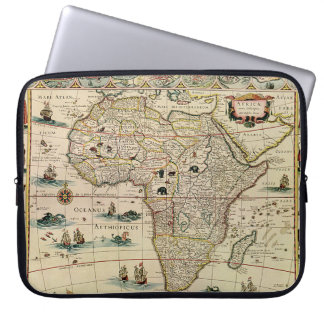 Vintage 1660's Africa Map by Willem Janszoon Blaeu Laptop Sleeve