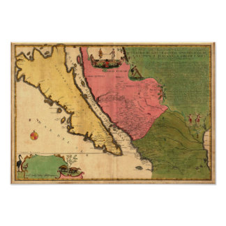 Vintage 1720 Map of California as an Island Poster