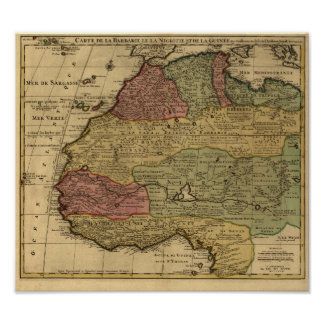 Vintage 1742 North Africa Map Poster