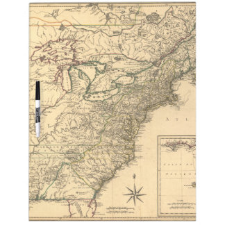 Vintage 1777 American Colonies Map by Phelippeaux Dry Erase White Board