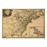 Vintage 1777 American Colonies Map by Phelippeaux Poster