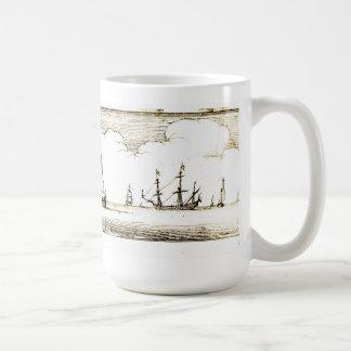 Vintage 17th Century Seacoast Woodcut Mug