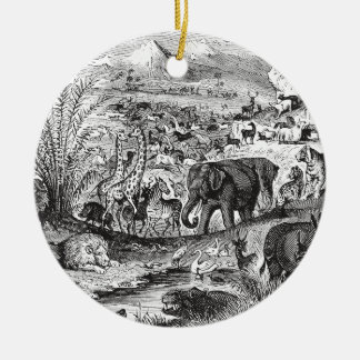 Vintage 1800s African Animal Illustration Animals Ceramic Ornament
