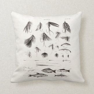 Vintage 1800s Angling Fly Fishing Flies Lure Lures Throw Pillow