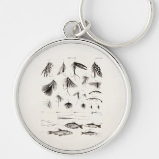 Vintage 1800s Angling Fly Fishing Flies Old Hooks Keychain