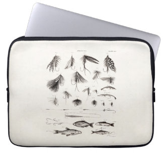 Vintage 1800s Angling Fly Fishing Flies Old Hooks Laptop Computer Sleeve