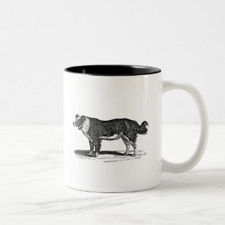 Vintage 1800s Border Collie Dog Illustration Two-Tone Coffee Mug