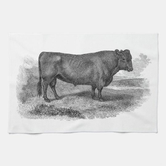 Vintage 1800s Bull Illustration Retro Cow Bulls Kitchen Towel