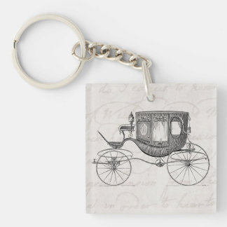 Vintage 1800s Carriage Horse Drawn Antique Buggy Keychain