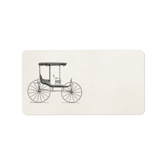 Vintage 1800s Carriage Horse-Drawn Antique Buggy Label