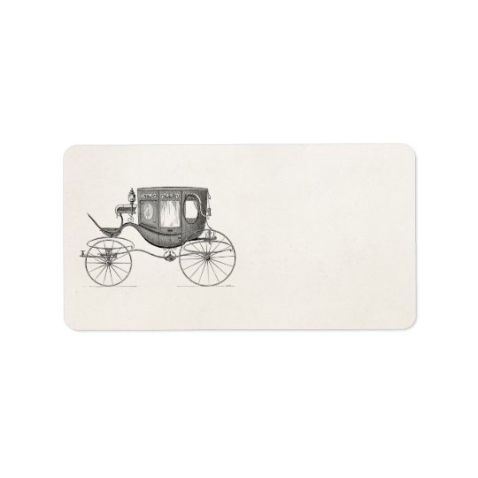 Vintage 1800s Carriage Horse Drawn Buggy Retro Car Label