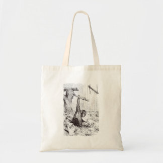 Vintage 1800s Chimpanzee Rabbit Monkey Bunny Chimp Tote Bag