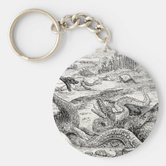 Vintage 1800s Dinosaur Illustration - Dinosaurs Basic Round Button Keychain
