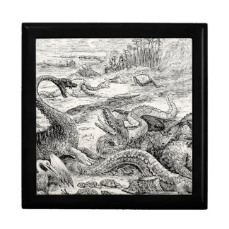 Vintage 1800s Dinosaur Illustration - Dinosaurs Keepsake Box