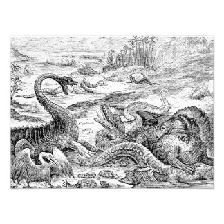 Vintage 1800s Dinosaur Illustration - Dinosaurs Photo Print